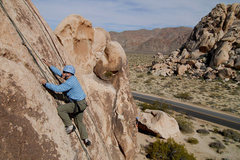 Rock Climbing Photo: Lee nears the top of Who's First, on Pixie Rock in...