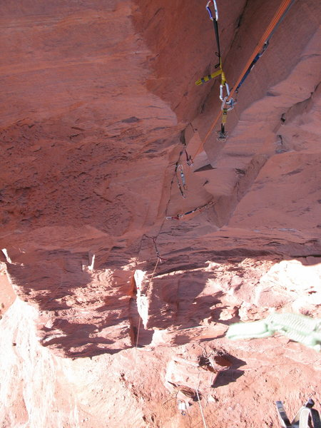 Rock Climbing Photo: Looking down from near the big roof on P1.
