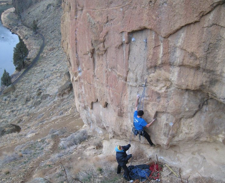 Rock Climbing Photo: Moving from the fang to the big sloper on Spartacu...