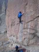 Rock Climbing Photo: Finishing up the crux on Spartacus.