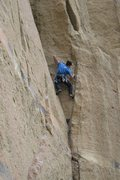 Rock Climbing Photo: Looking for gear opportunities, just below the ten...