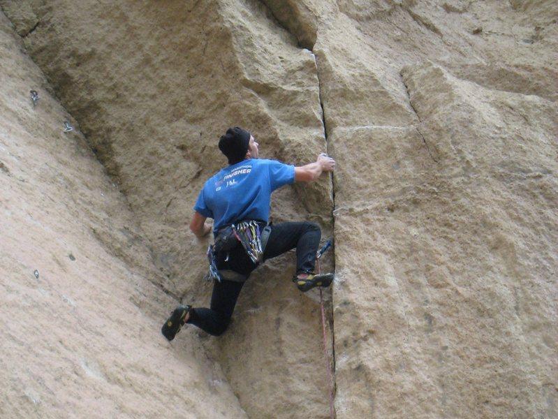 Rock Climbing Photo: A final awkward rest before the crux.