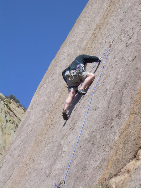 Rock Climbing Photo: Reaching for a second draw to clip the older bolt!...