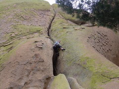 Rock Climbing Photo: Stu Ritchie exiting the first pitch wide crack!