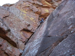 Rock Climbing Photo: Chris' first lead.  WMWR, Zoo Wall, The Dihedral 5...