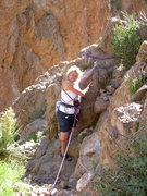 Rock Climbing Photo: The lovely Kimberly pointing out the rap anchor ba...