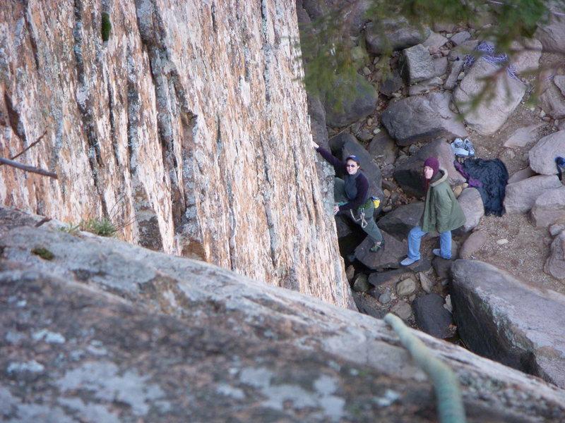 Rock Climbing Photo: Amanda begining Ker Plunk with Chris spotting Mar ...