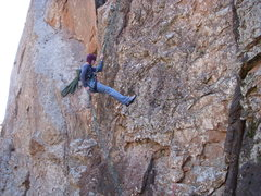 Rock Climbing Photo: Chris rapping off of Ker Plunk.  Mar 2009.  Sara w...