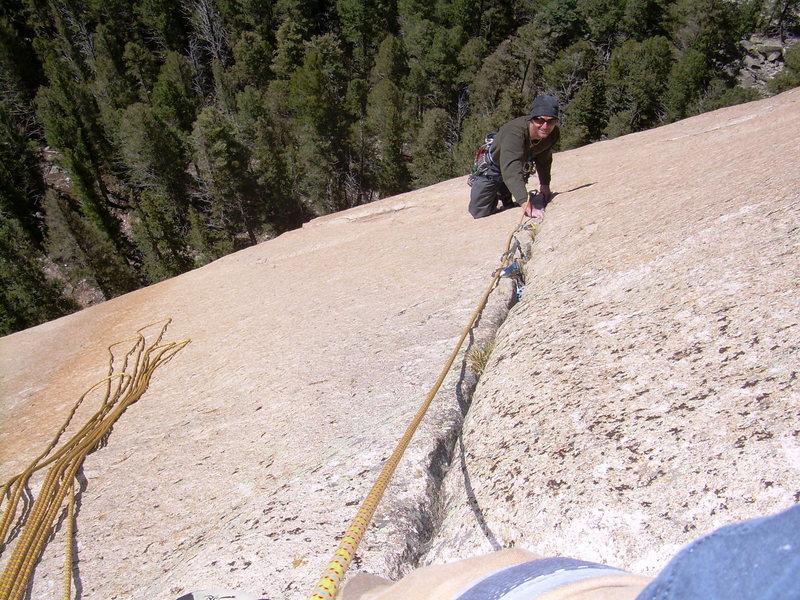 Rock Climbing Photo: Wyatt follows the spectacular crack of pitch 2!