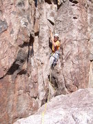 Rock Climbing Photo: Wyatt starts up the final wide pitch.
