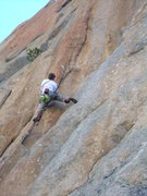 Rock Climbing Photo: Wyatt does battle with the very demanding first pi...