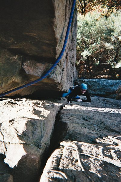 Me, on Carey Corner, shortly after falling and hitting the ledge because my belayer couldn't see me. It was a short fall though.