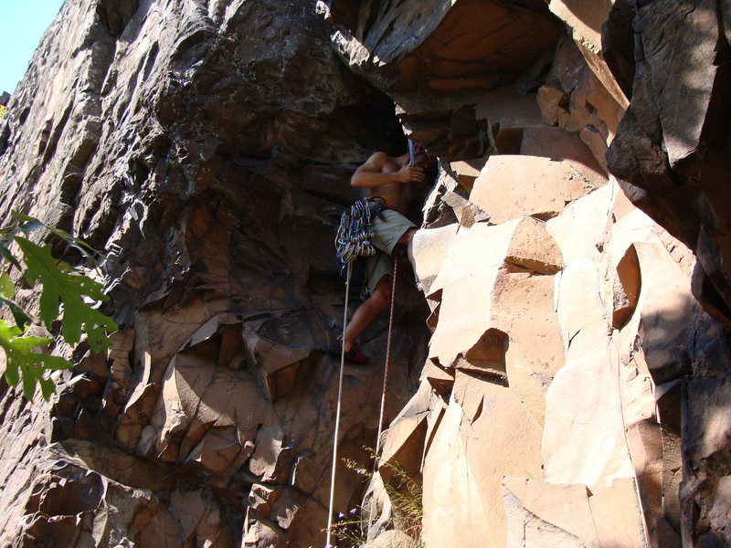 Rock Climbing Photo: Doug at the stemming start of Cat Crack showing th...