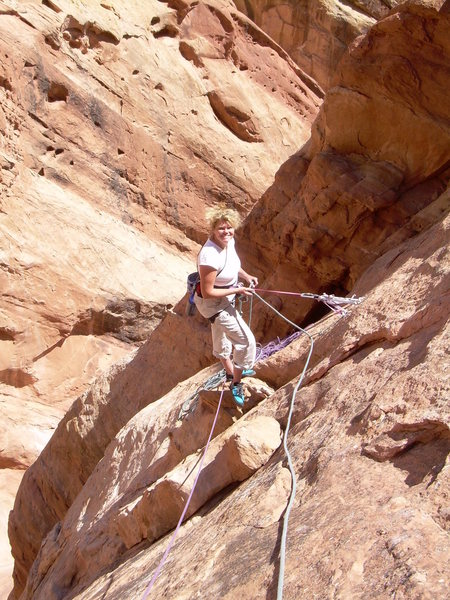 Kimberly belaying me on the crux