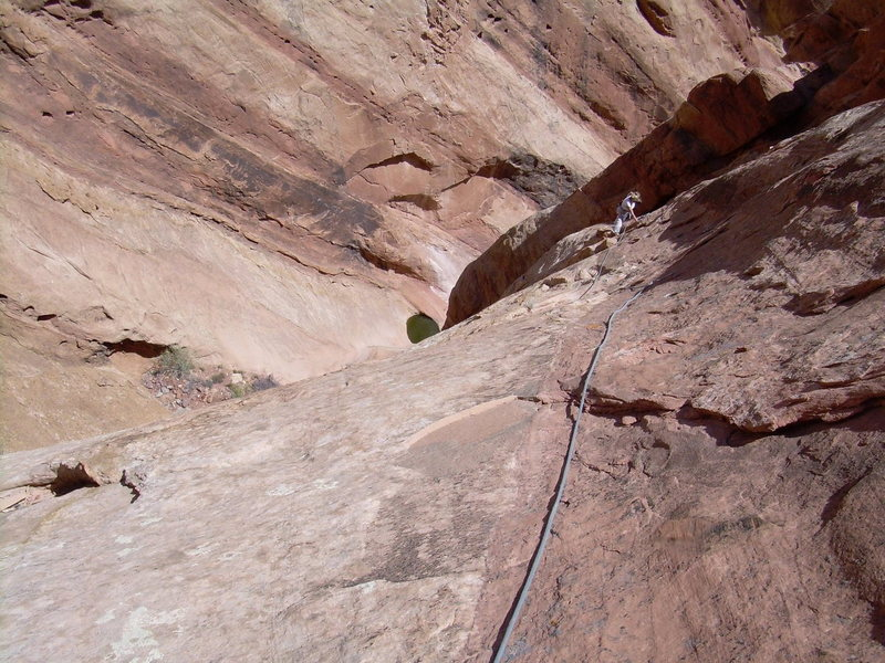 Looking back down the crux pitch