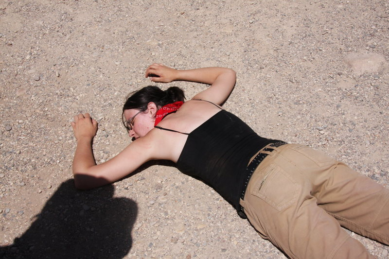 after hiking across the grand canyon. i wasn't that exhausted, but i figured, why not get a playing-dead shot.