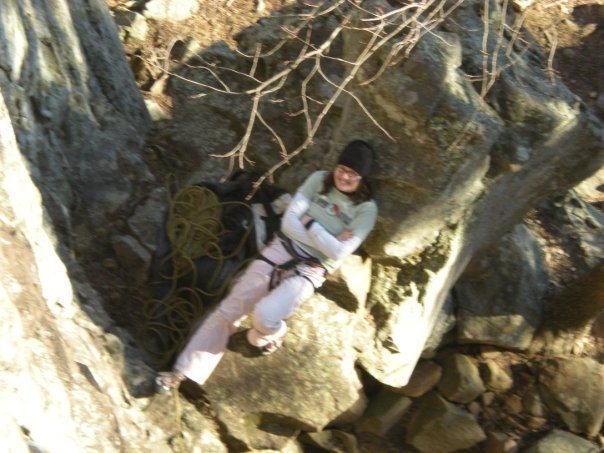 really cozy belay spot. save for the fact that i didn't belay sitting/laying down.