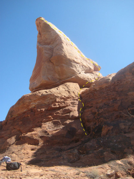 Rock Climbing Photo: Here's the formation with the route marked.
