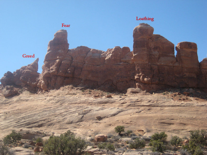Rock Climbing Photo: Greed, Fear, and Loathing. Note that in the photo ...