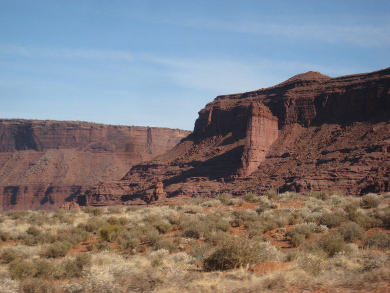 Carson's Tower (with River Tower in the background) from the dirt road that leads to the Fisher Towers.