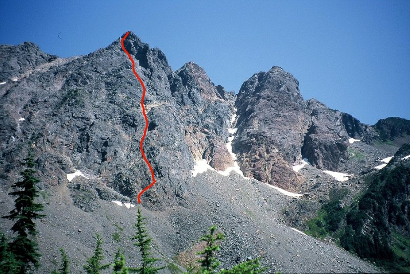 Rock Climbing Photo: Photo topo showing the general line of the Down-Du...
