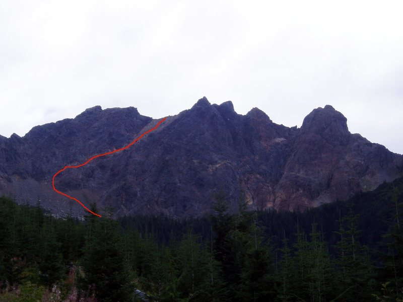 Rock Climbing Photo: West face of the Old Settler from the end of the l...