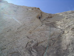 Rock Climbing Photo: Final section of Pitch 4. Photo Pat Moe