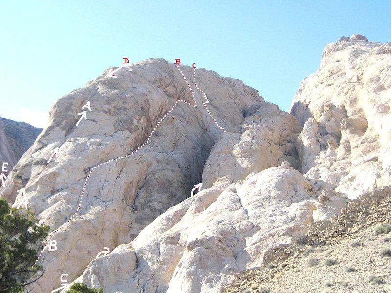 Rock Climbing Photo: A)Rilke's Climb 5.8.B)Easter Prohibition 5.9R C)Tr...