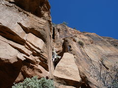 Rock Climbing Photo: The initial chimney on pitch 1. Hardest part of th...