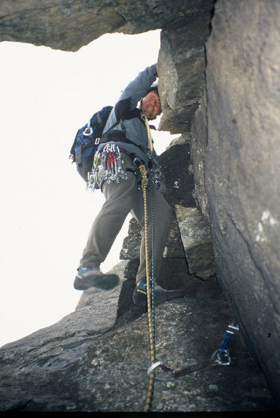 Rock Climbing Photo: Kurt Fickeisen climbing out of the cave to start t...