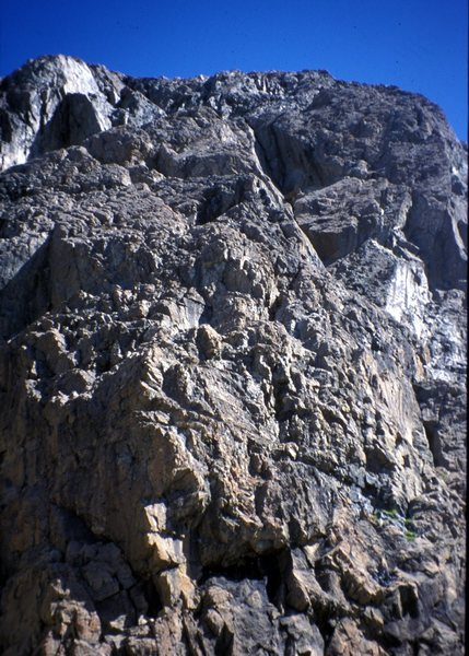 Looking up the steep 5.7 pitch from the basalt dyke midway up the route.