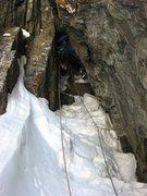 Rock Climbing Photo: Chris Sheridan leading the first pitch of Dog Hous...