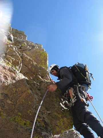 Rock Climbing Photo: Andy Grauch leading warm rock on the right variati...