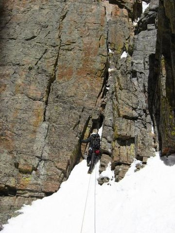 Rock Climbing Photo: Andy Grauch starting up the fourth pitch of Dog Ho...