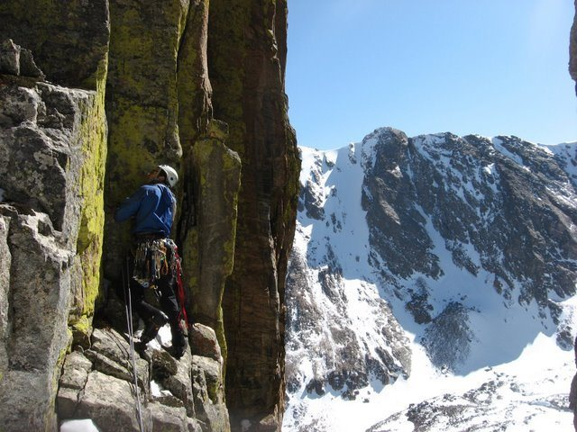Chris Sheridan starting up the summit spire of the Foil after exiting Dog House on 3-14-09.  Photo by Andy Grauch.