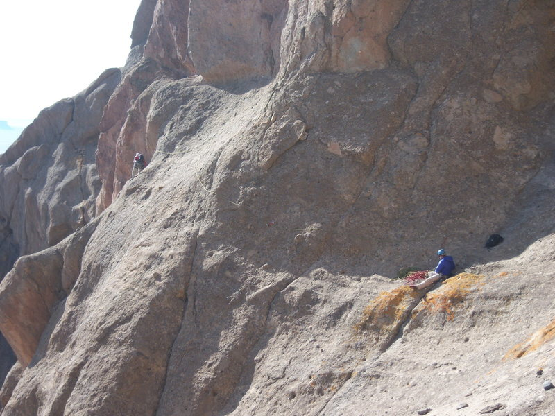 """The """"classic"""" traverse pitch. Ben is on route. There are additional pins/drives above him that lead off route."""