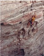 Rock Climbing Photo: PJ on early ascent...note grimace and heinous clip...