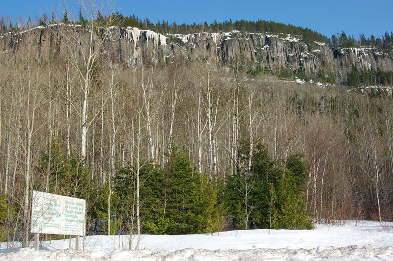 Getting Oriented and PG-13 as seen from the Domtar 81 Road. The access trail starts to the right of the Crown Land sign.