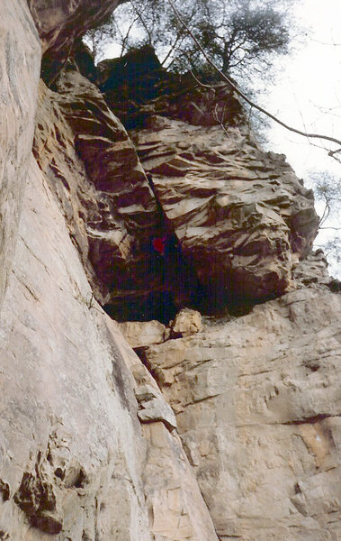 Rock Climbing Photo: Gene Smith working on the FA of Chandler Roof