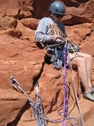Rock Climbing Photo: Belay at the top of pitch two.  One bolt, huge led...