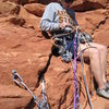 Belay at the top of pitch two.  One bolt, huge ledge, crack for medium gear