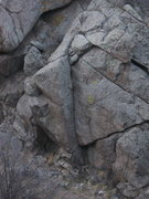 Rock Climbing Photo: Obvious lieback near the start of the trail to Art...