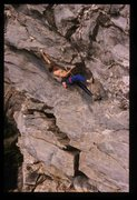 Dekker on 1st ascent on Zeus. photo PJ