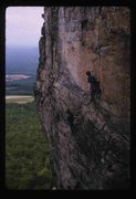 Stephan LaPierre belaying partner on Billboard pitch, 1988. photo PJ