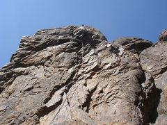 Rock Climbing Photo: Just finishing the crux.  Photo by Elaine
