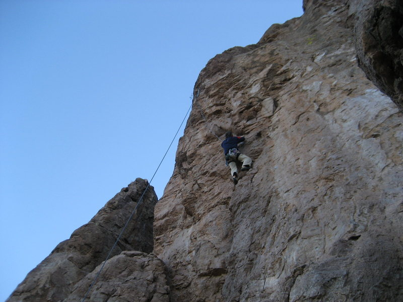 Bob Almond at the crux moves