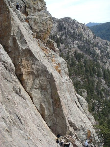 Rock Climbing Photo: Just finishing up the first pitch of Flags of Our ...