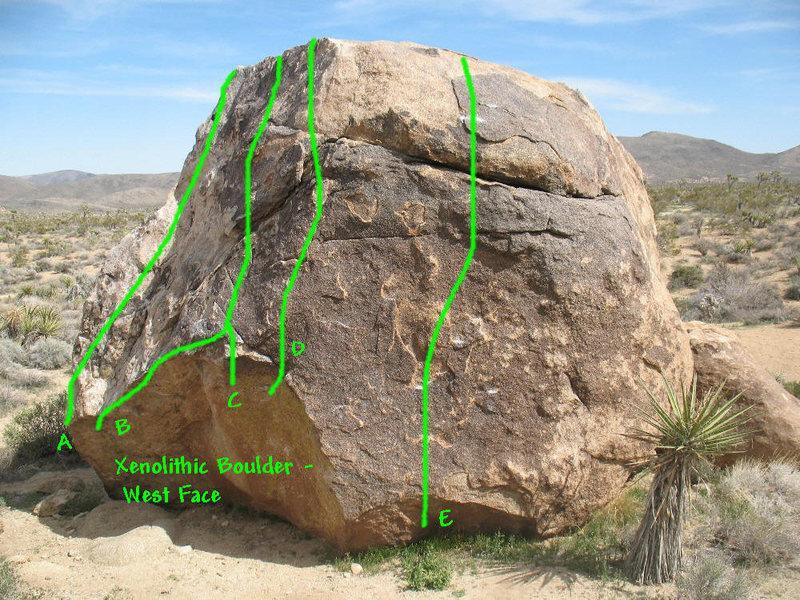 Xenolithic Boulder (West Face), Joshua Tree NP<br> <br> A. Greenhorn Route (V-easy)<br> B. Email (V3)<br> C. Enclave (V-easy)<br> D. Autolith (V0)<br> E. Xenocryst (V1)