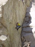 Rock Climbing Photo: last move to the third bolt, after that it is all ...