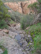 Rock Climbing Photo: From the main trail, head down the steep gully.  W...